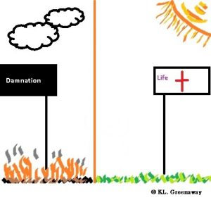 Drawing: Black flag with flames and black clouds on left, White flag with red cross on right with grass and sun