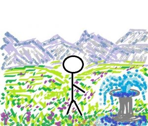 Drawn mountain scenery and meadow with stick figure by a fountain