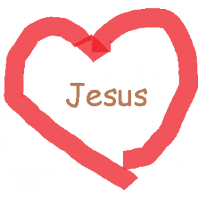 The name Jesus in a red heart
