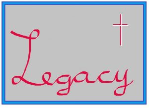 Paint drawing with the word legacy in red and a red/white cross on a grey background
