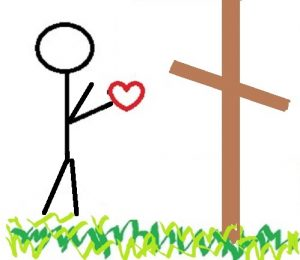 Stick figure holding heart and handing it to the cross