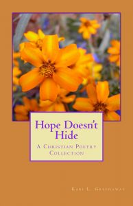 Original Cover for hope doesn't hide. Orange background with yellow flowers