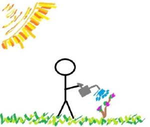stick figure with watering can sun in upper left corner