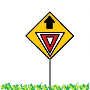 Yield sign with arrow pointing heavenward