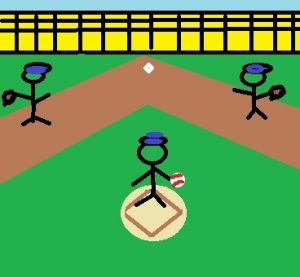 Drwn baseball players in a field