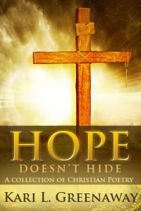 Christian Poetry Book: Hope Doesn't Hide-gold background and lettering with wooden cross in foreground of book cover