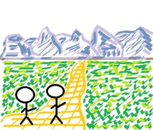 Stick figures walking on a golden road; mountains in background