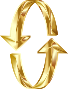 Golden arrows, like U-turns in opposite directions, making a broken circle. We are that broken circle. Christ is completing us.
